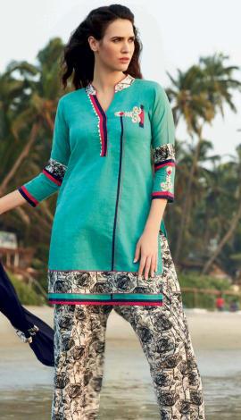 Seagreen Cotton Salwar Kameez