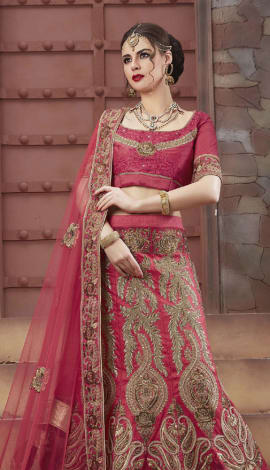 Red Tourky Silk Lehenga