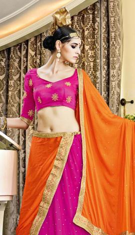 Rani Soft Net With Diamond Work Lehenga