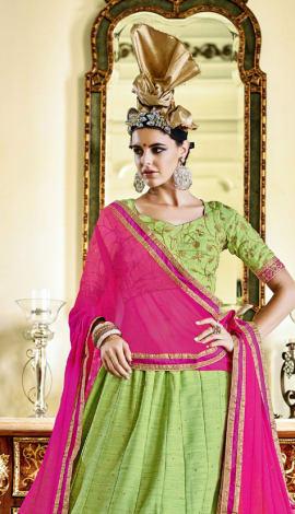 Pista Green Banglori Silk With Diamond Work Lehenga