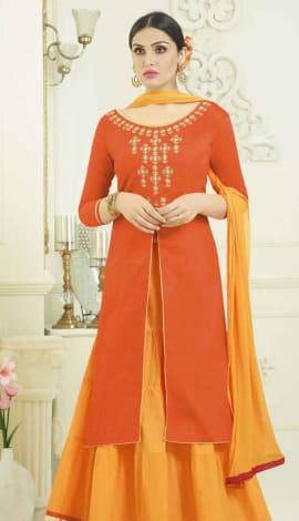 Deep Orange Semi Cotton Salwar Kameez