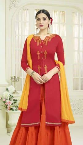 Red Semi Cotton Salwar Kameez