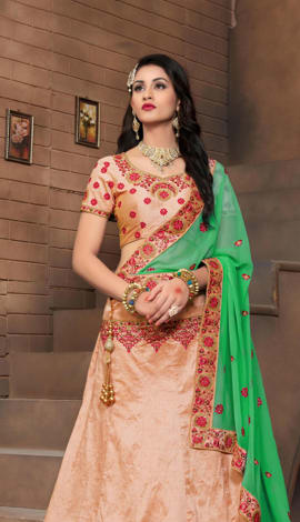 Light Orange Silk Lehenga