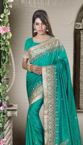 Teal Green Art Silk Lehenga