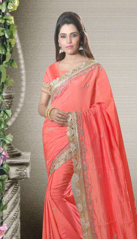 Peach Art Silk Lehenga