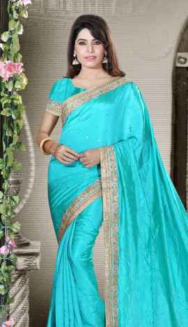 Sea Green Art Silk Lehenga
