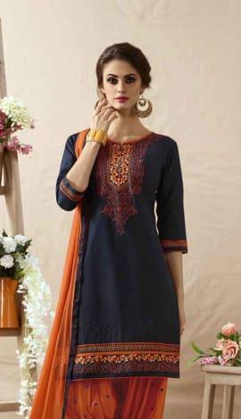 Deep Blue Cotton Satin Salwar Kameez