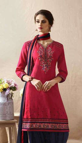 Pink Cotton Satin Salwar Kameez