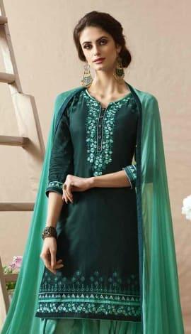 Lavish Green Cotton Satin Salwar Kameez