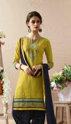 Deep Yellow Cotton Satin Salwar Kameez