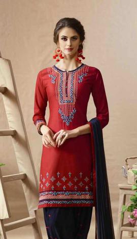 Red Cotton Satin Salwar Kameez