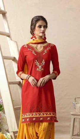 Light Red Cotton Satin Salwar Kameez