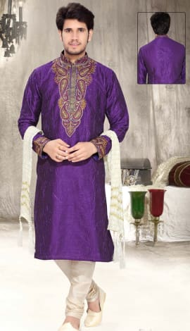 Purple Art Silk Men