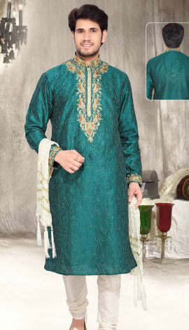 Teal Green Art Silk Men