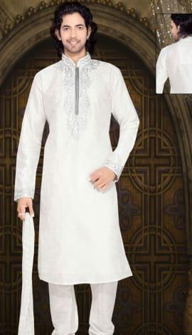 Off White Art Silk Men