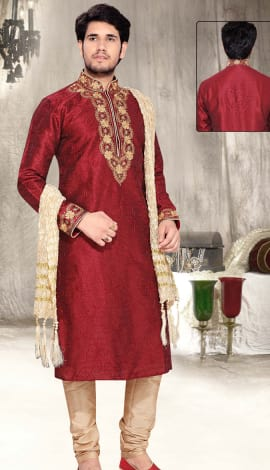 Maroon Art Silk Men