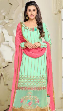 Sky Green Georgette Salwar Kameez