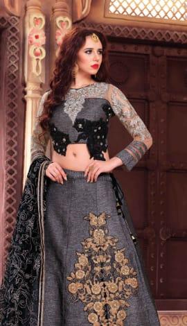 Shine Gray Fancy Fabrics Lehenga