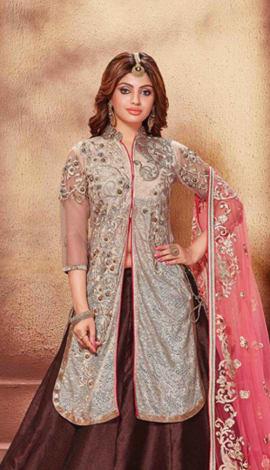 Brown Fancy Fabrics Lehenga