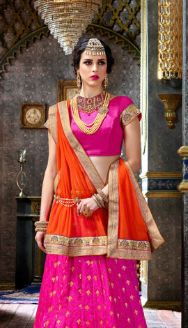 Pink Banarasi Butta Lehenga