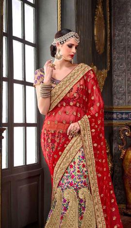 Red & Multi Chennai Silk Lehenga