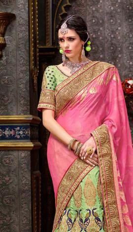 Pink & Light Parrot Chennai Silk Lehenga