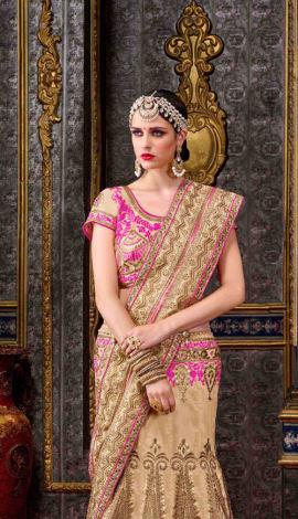Light Pink & Beige Chennai Silk Lehenga