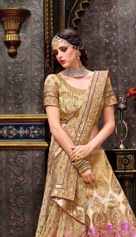 Golden & Violet Chennai Silk Lehenga