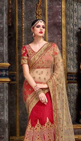 Red & Cream Chennai Silk Lehenga