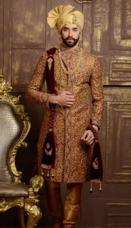 Maroon Jaqurd Silk Brocade Men