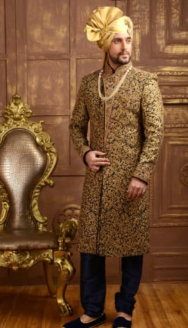 Blue Jaqurd Silk Brocade Men