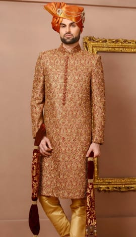 Maroon/Gold Banarasi Silk Brocade Men