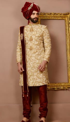 Beige Jaqurd Silk Brocade Men