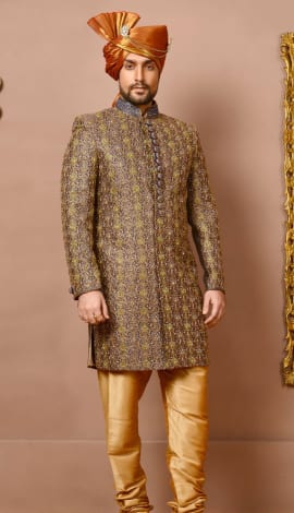 Blue/Gold Banarasi Silk Brocade Men