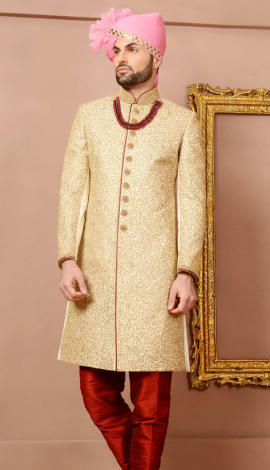 Cream Jaqurd Silk Brocade Men