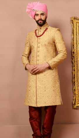Gold Jaqurd Silk Brocade Men