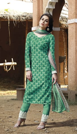 Green Bhagalpuri Printed Salwar Kameez