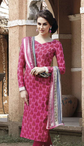 Pink Bhagalpuri Printed Salwar Kameez