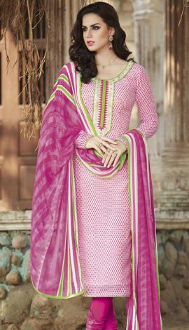 Light Pink Bhagalpuri Printed Salwar Kameez
