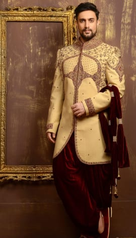 Gold Banarasi Silk Brocade Men