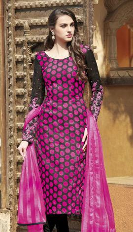 Pink & Black Bhagalpuri Printed Salwar Kameez