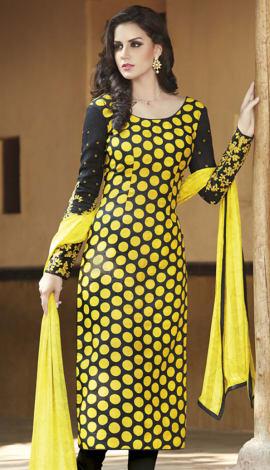 Yellow & Black Bhagalpuri Printed Salwar Kameez