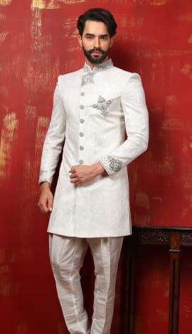 Off White Banarasi Silk Brocade Men