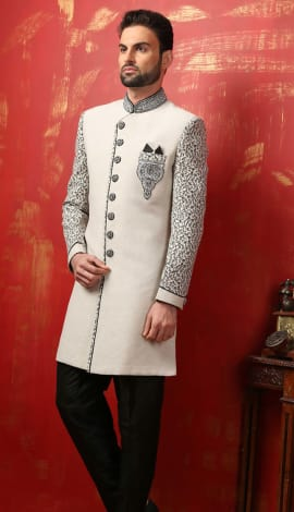 Cream Banarasi Silk Brocade Men