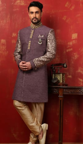 Purple Banarasi Silk Brocade Men
