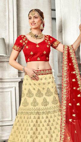 Red Banglori Silk Lehenga