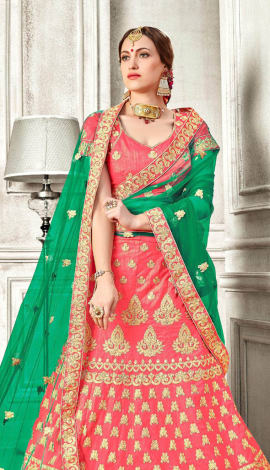 Light Orange Banglori Silk Lehenga