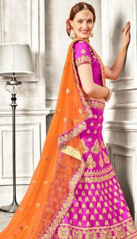 Pink Banglori Silk Lehenga