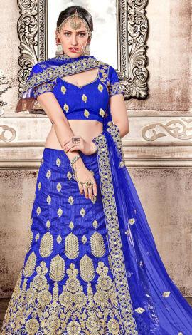 Shine Blue Banglori Silk Lehenga
