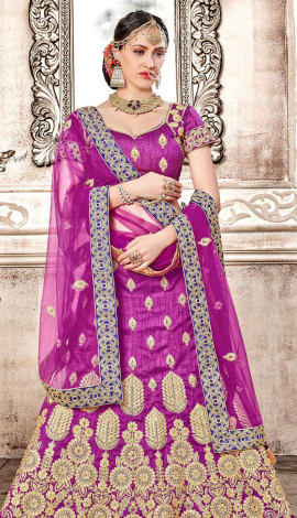Purple Banglori Silk Lehenga